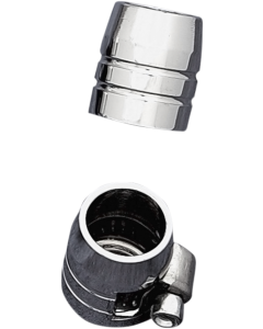 GROOVED CHROME HOSE ENDS WITH CLAMPS